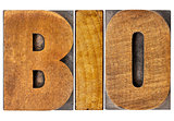 bio word in wood type