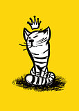 Cat with crown. Hand drawn. Vector illustration.