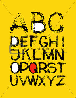 alphabet. hand drawn in vector on yellow background