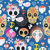 Festive pattern of funny skulls