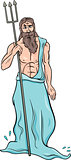 greek god poseidon cartoon illustration