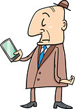 senior with smart phone cartoon