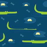 Vector cute seamless pattern with hand drawn crocodiles