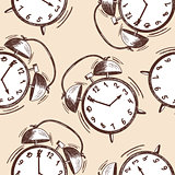 Alarm clock sketch seamless pattern