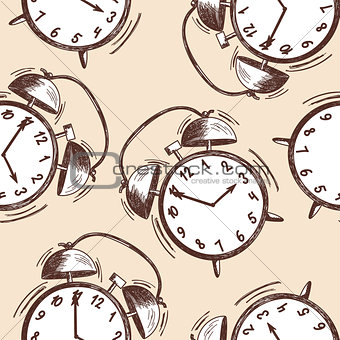 Alarm clock sketch seamless pattern