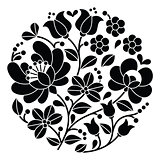 Kalocsai black embroidery - Hungarian round floral folk pattern