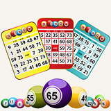 Bingo cards and set of bingo balls on white background