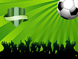 football ball on green background with shield and crowd