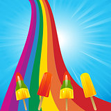 Ice lollies on a rainbow and blue sky