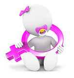 3d white people baby girl sign