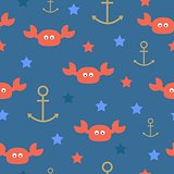 Sea crabs anchors stars seamless pattern. Vector illustration.