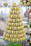 Pyramid of french colorful macaroons