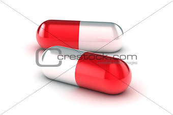 A Group of Medical Pills on a white background