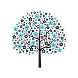 Decorative vector tree in blue bloom