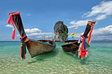 Fishing thai boats and landmark at Po-da island, Krabi Province,