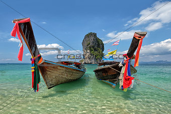 Fishing thai boats and landmark at Po-da island, Krabi Province,