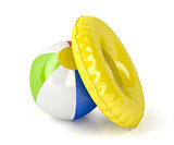 Beach ball and swim ring