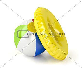 Beach ball and swim ring