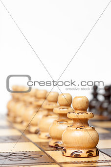 Classic chess game - pawns in rows, lined up