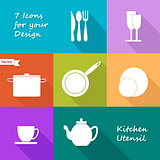 Seven icons of kitchen utensil