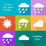 Colored icons design of weather forecast