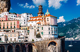Ancient architecture of Atrani village. Amalfi Coast