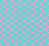Seamless geometric pattern with hearts. Vector repeating texture. Holiday polka dot
