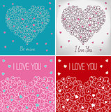 Collection of greeting cards with floral heart shape. I love you