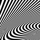 Pattern with optical illusion. Black and white background.
