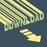 The word download with an arrow. 3d vector illustration.