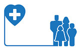 family silhouette on medical symbol