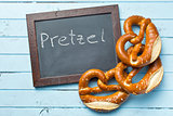 baked pretzels and chalkboard