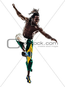 Brazilian  black man soccer player kicking football silhouette