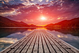 Beautiful sunset view from a wooden platform