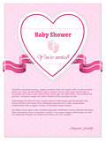 Pink baby shower invitation with text