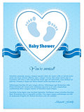 Blue baby shower invitation with text