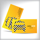 Taxi business card design with cutout car shape