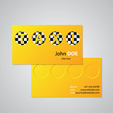 Taxi business card design with cutout taxi text