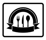 spoon, knife, fork on black icon