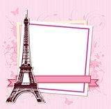 White frame with Paris and the Eiffel Tower