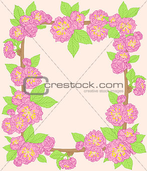 Frame with pink peach flowers