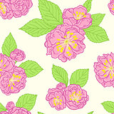 Seamless pattern with peach flowers
