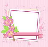 White frame with peach flowers