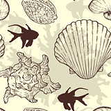 Seamless pattern with sea shells and fishes