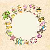 Summer decorative round banner
