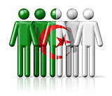 Flag of Algeria on stick figure