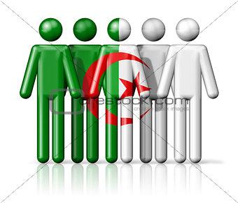 Flag of Algeria on stick figure