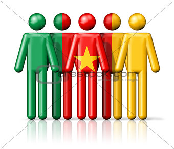 Flag of Cameroon on stick figure
