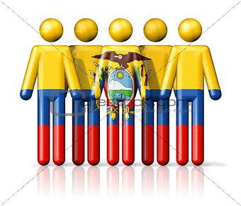 Flag of Ecuador on stick figure