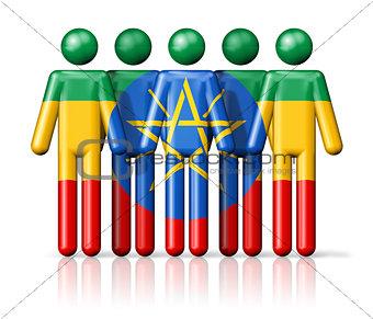 Flag of Ethiopia on stick figure